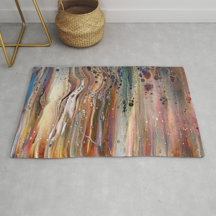 Abstract acryllic pour painting rug